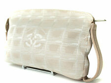 Auth CHANEL New Travel line Canvas, Leather Beige Pouch Accessories Clutch Bag
