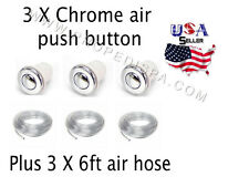 3 x Universal Chrome air push button / switch w/6ft hose for pedicure spa chair