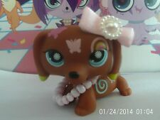 littlest pet shop dachshund dog with accessories bow and necklace
