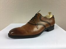 $895 DI BIANCO Scarpe Brown Oxford HANDMADE In Italy Men`s Dress Shoes 9.5M