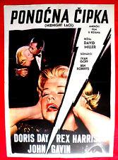 MIDNIGHT LACE 1960 DORIS DAY JOHN GAVIN REX HARRISON RARE EXYU MOVIE POSTER # 2