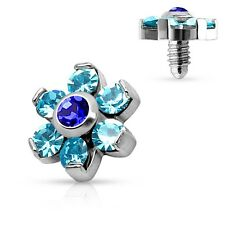 Prong Crystal Flower 316L Surgical Steel Internally Threaded Dermal Anchor Top 4