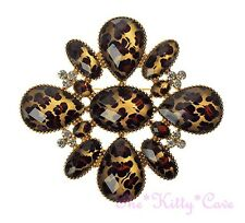 Huge Vintage Inspired Cheetah Leopard Animal Print Gold Platd Crystal Brooch Pin