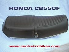 '76 HONDA CB550F BROWN COMPLETE SEAT COVER KIT + CHROME TRIM STRIP + BUCKLES