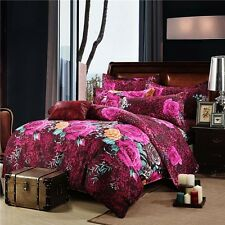 Mingjie Big Red and Yellow Flowers 3D Bedding Sets 4PCS Queen Size Bed Linen