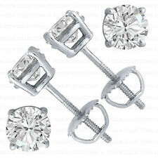 Mens Ladies 925 Silver Round Simulated Diamond Screwback Solitaire Earrings 7mm