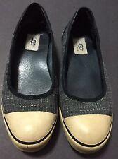 Ugg Neema 1864 Sport Gray Black Stripe Boat Sport Sneakers Size 7.5