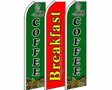 3 Pack Set Green Coffee Breakfast Swooper Super Advertising Windless Banner Flag