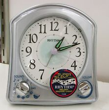 "RHYTHM ALARM CLOCK""SILVER ROBIN"" W/ BEEPS, CHIRPS &DIFFERENT MELODIES 8RMA02WR04"