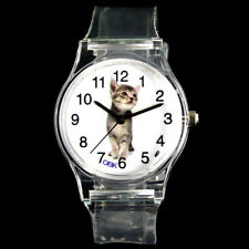 Domestic Kitty Pet Cat Kitten Dial Transparent Silicone Wrist Watch Unisex