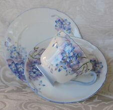 Shelley Bone China Blue Spray cups saucers & plates England c1930 Set of six