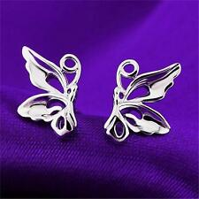 New Fashion Solid 925 Sterling Silver Butterfly Stud Earrings Jewelry Lady G30