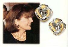 Camrose & Kross Jacqueline Jackie Kennedy Two Tone Heart Clip Earrings  NIB