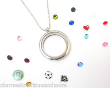 Plain Round 30mm Silver Tone Floating Charm Memory Locket Necklace With Chain