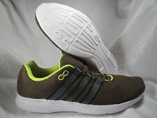ADIDAS LITE RUNNER MILITARY GREEN/NEON/GRAY RUNNING SHOES MENS SIZE 8.5