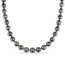 "14k White Gold 17"" 8-11 mm Graduated Black Tahitian Pearl Necklace Ball Clasp"