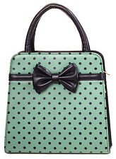 Banned Rockabilly 50s Vintage Polka Dot Women Bow Purse Handbag Green Black