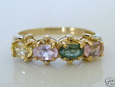 Beautiful 9ct Gold Pink, Yellow & Green Sapphire Ring Size N