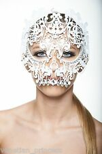 Day of The Dead White Skull Venetian Laser Cut Masquerade Mask w/ Rhinestones