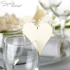 Ivory Heart Place Name Cards For Glass - Laser Cut x 10 - Wedding - HIGH QUALITY
