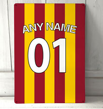Personalised any name Bradford City Football Shirt sign A4 metal plaque decor