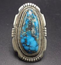 Signed Vintage NAVAJO Sterling Silver & Blue Morenci TURQUOISE RING, size 8.75