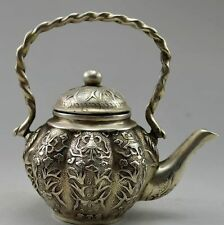 Collectible Decorated Old Handwork Tibet Silver Carved Flower Fish Tea Pot NR