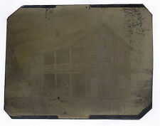 1870's-1880's FULL PLATE TINTYPE OF A WOOD HOUSE WITH TWO PORCHES & PICKET FENCE