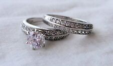Sterling Silver CZ Wedding Ring Set ~ Sz 7 ~ Over 2 Ct.