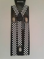 Black And White Chekered  Adjustable Suspender Braces Police Theme Fancy Dress.