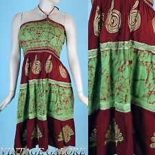 VTG 80s GREEN Brown Halter top Ethnic tribal boho hippie Embroidered dress S