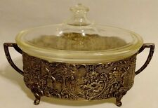 Pyrex Dish & Lid w/ Silver Over Copper Holland Ware Carrier Repousse, MW Carr
