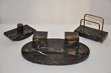 Italian Portoro Marble & Bronze Desk Top Inkwell Set, Letter Holder & Blotter