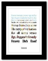 THE BEATLES - Sgt Peppers ❤ song lyrics typography poster art print A1 A2 A3 A4
