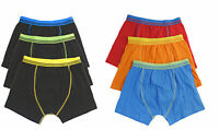 6 Pairs Boys Boxer Shorts, Cotton Rich  Designer Trunk Boxers Underwear 2-13 Yrs