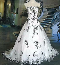 Black And White Wedding Dresses Beautiful Elegant Ball Gown Custom Color Size