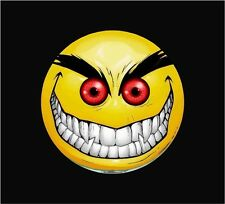 """Evil Smiley Red Eyes Graphic Window Decal Sticker Decals Stickers 6"""" X 6"""""""