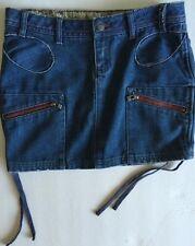Oakley Industrial Denim Blue Jean Mini Skirt Women's Sz 6 Zipper Front Pockets