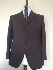 Vintage 1960s Bespoke Luxury Brown 3 Piece Suit City Wool Button Fly & Brace Mod