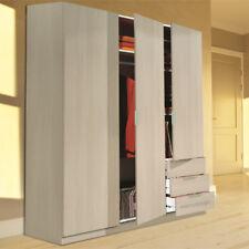Armario ropero de 3 puertas y 3 cajones en color roble, 180x121x52cm