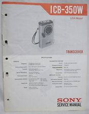Original SONY ICB-350W Transceiver / Walkie Talkie SERVICE MANUAL repair radio