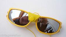 ausgefallene Sonnenbrille mit Leder Seitenschutz Fliegerbrille gelb streampunk