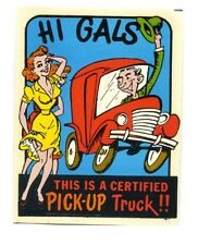 vtg impko decal genuine pick up truck pin up girl hot rod novelty retro