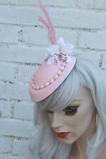 Pink Feather Orchid Mini Top Hat 1950S Pinup Style Rockabilly Bridal Pastel