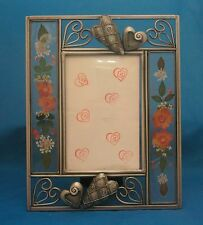 HEARTS Metal Photo Frame with Flowers in Glass on the Sides 4x6 Photo Window