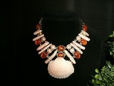 necklace amber & shell 925 Silver Cleopatra cluster bib adjustable