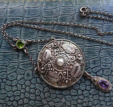 antique Arts & Crafts SILVER pearl amethyst peridot flower suffrage necklace 426