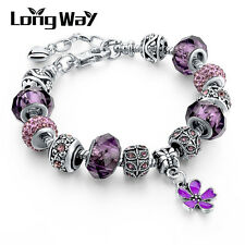Silver Plated Sweet Purple Flower Crystal Glass Beaded European Charms Bracelet