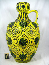 Stunning 70´s design BAY  Relief Keramik pottery vase 77  45 dark green & yellow