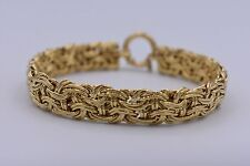 "8"" Technibond Interlocked Byzantine Link Bracelet 14K Yellow Gold Clad Silver"